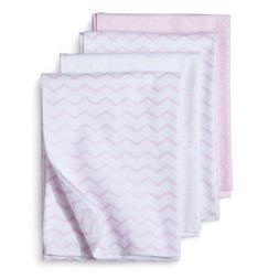 4pk Flannel Receiving Blankets Zigs 'n Zags Pink