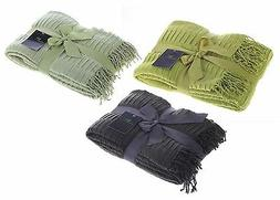 Legacy Decor Flannel Throw Blanket with Fringe, 3 Colors Ava