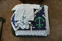 Fleece Baby Blanket - Anchor print  w/ sweater and booties
