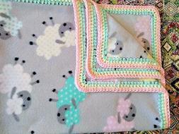 Fleece Baby Blanket w/Crochet Edge  POLKA DOT SHEEP/PINK BAC