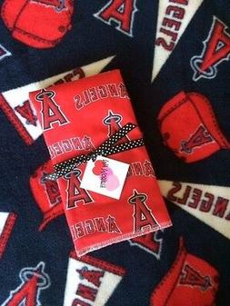 Fleece Blanket & Burp Cloth made with Anaheim Angels Fabric