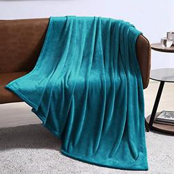 EXQ Home Fleece Blanket Teal Throw Blanket for Couch or Bed