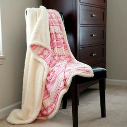 Lavish Home Fleece Sherpa Blanket Throw - Pink Snowflakes
