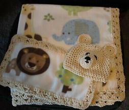 Fleece trim baby blanket-Animals w/ burp cloth and bear cap