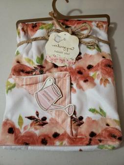 Tiny Garden Floral Baby Blanket Spring Flowers reversible mi