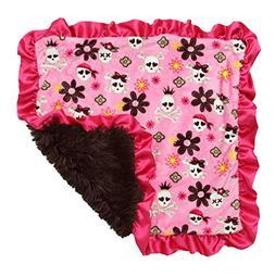 Bubblegum Divas Flower Pirate Skulls Plush Baby Blanket Sati