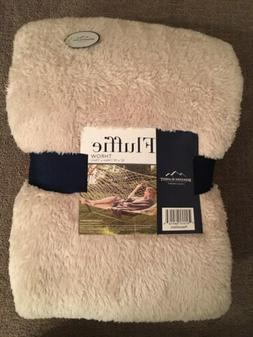 """Berkshire Blanket FLUFFIE THROW 55"""" x 70"""" Color Peacock/Sand"""