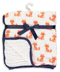 Hudson Baby Four Layer Muslin Tranquility Blanket, Foxes, On