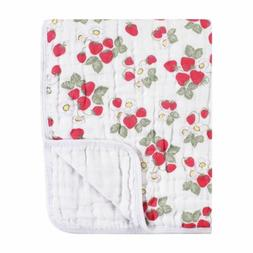Hudson Baby Girl Four Layer Muslin Tranquility Blanket, Stra