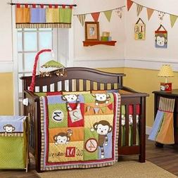 6 Piece Four Lil Monkeys Crib Set