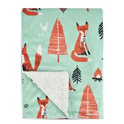Boritar Fox Baby Blanket -Soft Minky with Double Layer Dotte