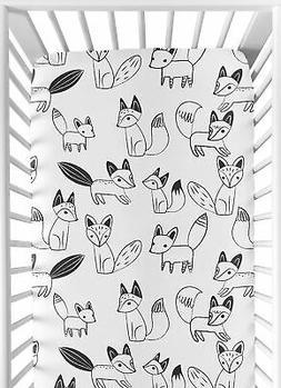 Fox Print Fitted Crib Or Toddler Sheet For Sweet Jojo Black