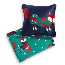 "Fox Throw Blanket and Pillow Set 50"" x 60"""" - soft cozy"