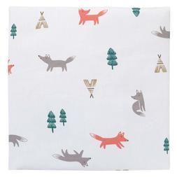 Carter's Fox Toss Print Cotton Fitted Crib Sheet No Packg