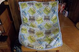 Frogs Blue Fleece Baby Blanket with Crochet Edging Handmade