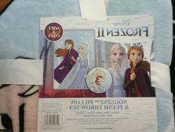 Disney Frozen II Pillow And Throw Blanket Set ElsaNEW!