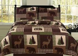 Full/Queen Quilt 3 Piece Set Rustic Cabin Lodge Deer and Bea