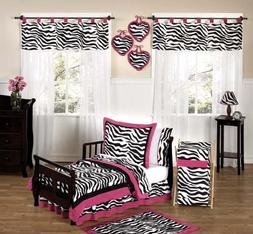 Funky Zebra and Hot Pink Toddler Bedding 5 Piece Girls Set