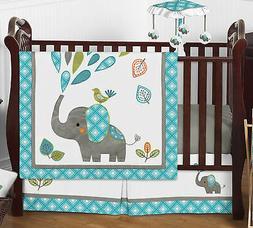Gender Neutral Mod Elephant Teal Grey Baby Bumperless Boy Gi