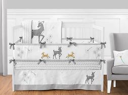 Gender Neutral Woodland Deer Girl Boy Baby Nursery Gray & Wh