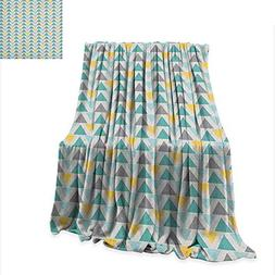 Anyangeight Geometric Throw Blanket Chevron Lines with Trian