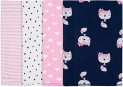 "GERBER Baby Girls' 4-Pack Receiving Blanket, Pink Fox, 30"" x"