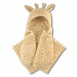 Giraffe Plush Hooded Baby Blanket Boy or Girl NWT Hudson Bab