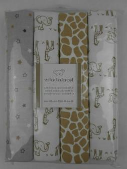 Koala Baby Giraffe Print 4-Pack Receiving Swaddle Blanket NE