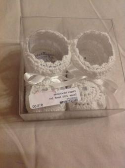 Elegant Baby Girl 0-6 Months White Ribbon White Crochet Knit