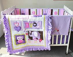 NAUGHTYBOSS Girl Baby Bedding Set Cotton 3D Embroidery Eleph