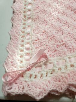 New Girl Baby Blanket Soft PINK - white trim Hand Made Croch