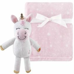 Hudson Baby Girl Baby Plush Blanket and Toy, 2-Piece Set, Pi