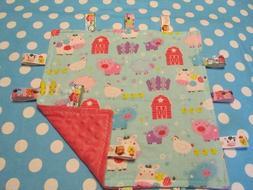 Girl Blue Farm Animal Flannel/Minky Baby Tag Ribbon Security