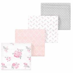 Hudson Baby Girl Flannel Receiving Blankets 4pk, Pink Floral