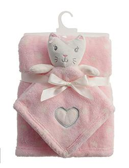 Baby Girl Kitty Blanket and Security Blanket Set Pink with W