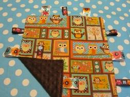 Girl Multicolored Owl Blocked Cotton/Minky Baby Tag Ribbon S