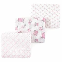 Hudson Baby Girl Muslin Swaddle Blankets, 3-Pack, Pastel Flo