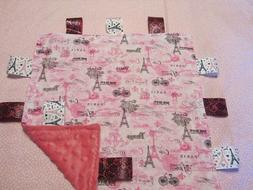Girl Pink with Black Paris Theme Cotton/Minky Baby Tag Ribbo