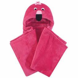 Hudson Baby Girl Plush Blanket with Hood, Flamingo, One Size