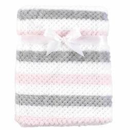Hudson Baby Girl Plush Waffle Blanket, Pink and Gray Stripe