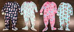 Girl's Carter's 2T Footed Sleeper Pajamas Cat Owl Monkey Sle