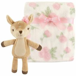 Girl's Pink Roses Fawn Deer Bambi Baby Blanket w/ Toy Hudson