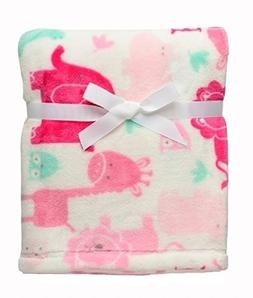Baby Girl Safari Soft Blanket Lions, Elephants, Giraffes and