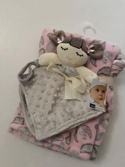 Vitamins Baby Girl Security Blanket Set Pink Grey Doll Minky
