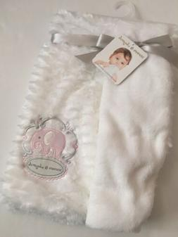 Blankets And & Beyond Baby Girl White Faux Mink Elephant App