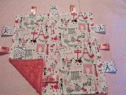 Girl White with Pink Paris Theme Cotton/Minky Baby Tag Ribbo