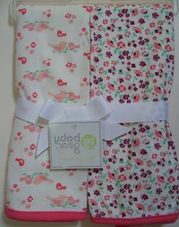 Girls Baby Gear 2 Pc Peach White Cream Floral Bird Baby Rece