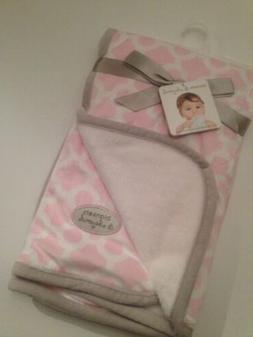 Girls Blankets and & Beyond Pink White Grey Soft Baby Blanke