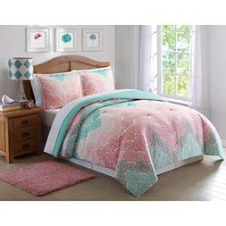 3 Piece Girls Chevron Comforter Full Queen Set, Pretty All O