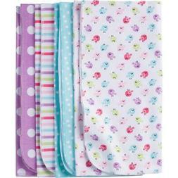 Gerber Baby Girls' 4-Pack Flannel Receiving Blanket, Little